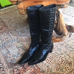 Ladies black lace up boots with side zip